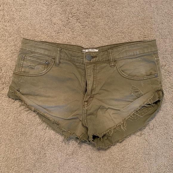 Free People Pants - Free People Olive Denim Cut Off Shorts